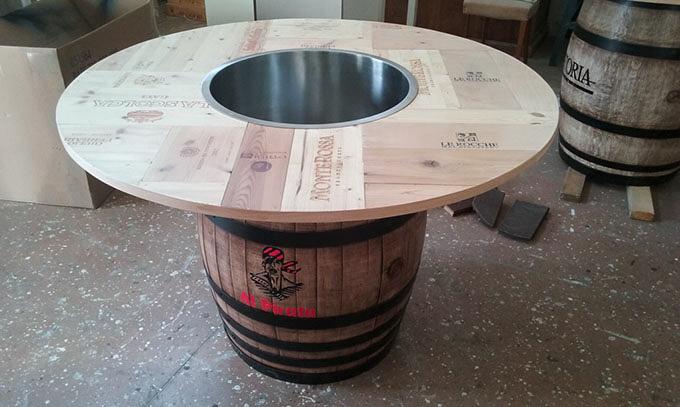 Tavolo botte di legno, dettaglio lavorazione