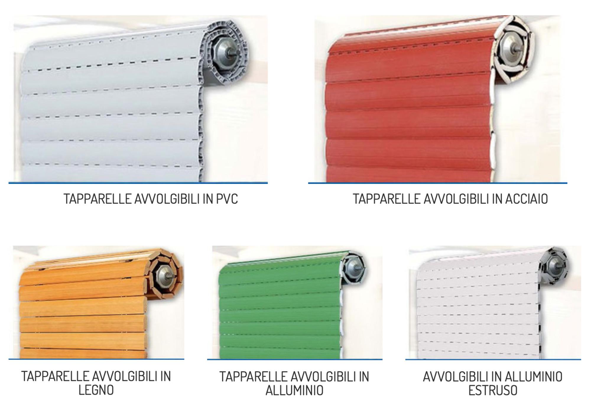 tapparelle in vari materiali: PVC, legno e alluminio